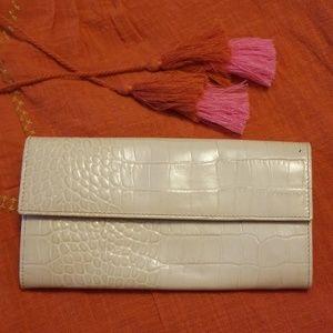 EUC Furla Cream Colored Leather Foldover Wallet